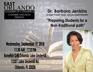 Dr. Barbara Jenkins on Preparing for a Non-Traditional Path to Success | East Orlando Chamber of Commerce (EOCC) Chamber Luncheon @ Bonefish Grill