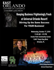 EOCC Chamber Luncheon featuring Universal Orlando Studios' VP of Art & Design T.J. Mannarino @ Avalon Park Community Center