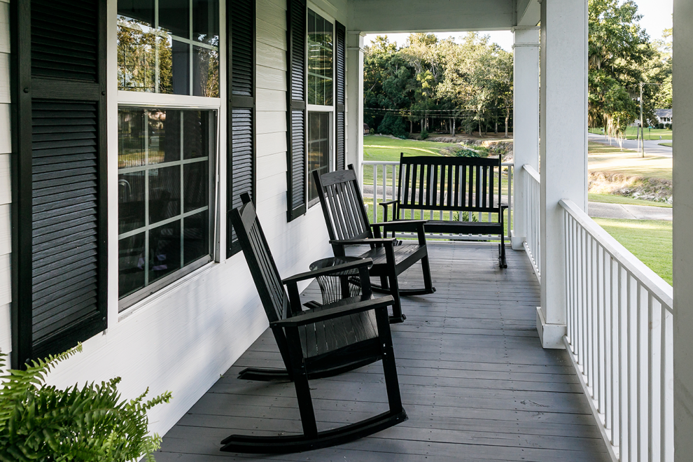 Two chairs on the porch
