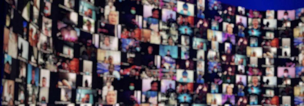 Collage of screenshots that show blurred out faces on Zoom calls and attending virtual events.