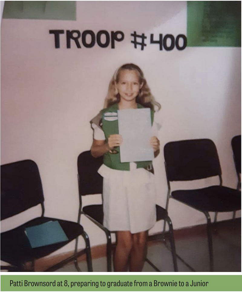 Patti Brownsord shown as a Girl Scout at age 8