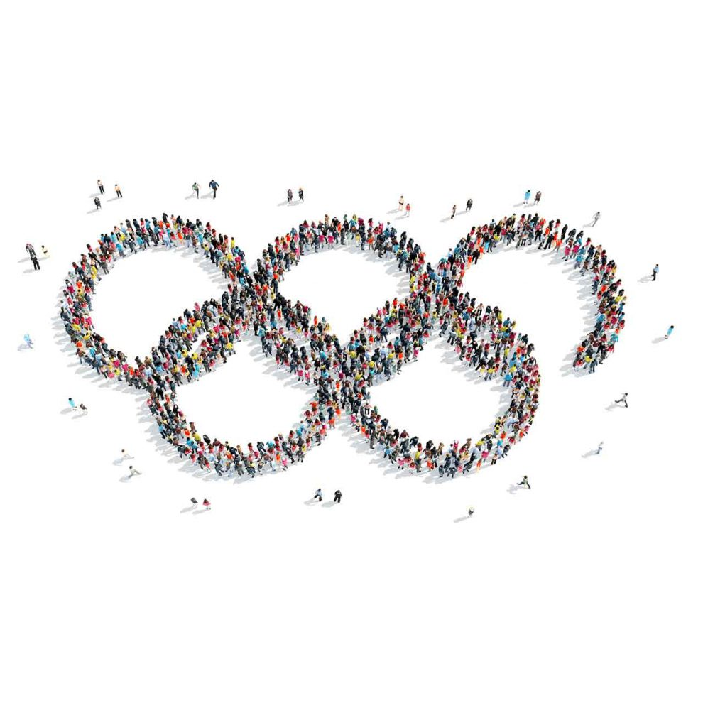 Graphic of a group of people standing in clusters that form the five Olympic rings
