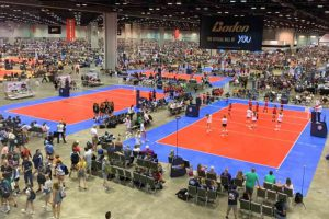 Picture inside Orange County Convention Center hosting a record-breaking AAU volleyball event